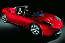 Red 2010 Tesla Roadster