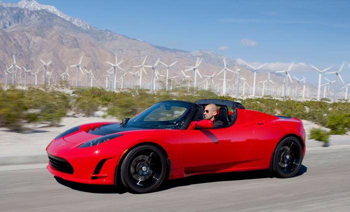 Red 2012 Tesla Roadster