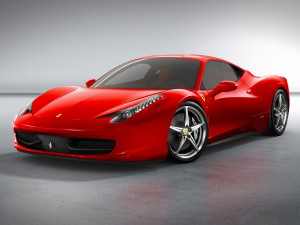 Ferrari-458-Italia with the aggressive nose and slender headlights